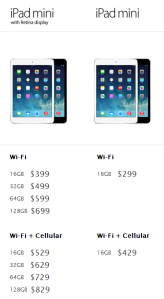 ipad mini 2 vs ipad mini price